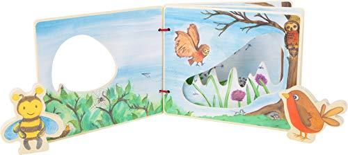 Small Foot d'Images « L'Univers des airs interactif » en Bois, certifié 100% FSC, Forme et Taille des Pages du Livre Jouets, 11217, Multicolore