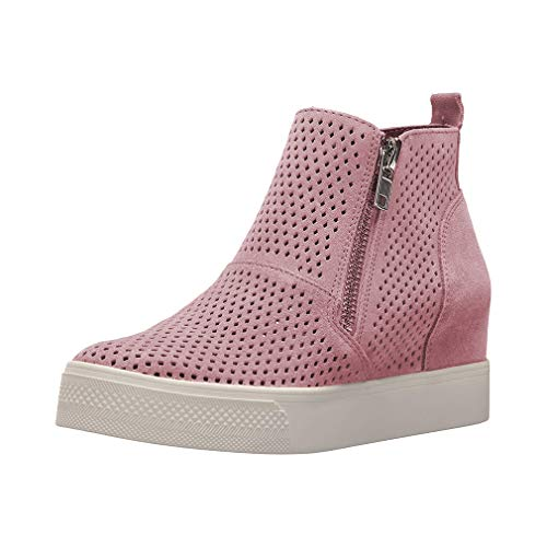 Zapatillas Deportivas de Mujer Cuña Sneakers Plataforma Casual Zapatos para Dama Ante Piel Tacon 5cm Botines Elegante Calzado Moda Negras Rosa Gris 34-43 PK39