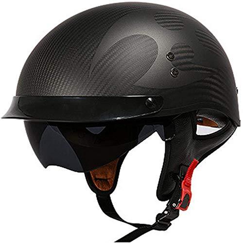 ZHXH Harley Motorradhelm, leichter Retro-Carbon-Unisex-Straßenrollerhelm für Erwachsene, Dot/ece-Zulassung,
