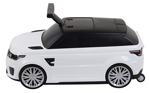 Ride-On and Suitcase 2 in 1 Range Rover SVR Licensed Land Rover Children's Car Suitcase for Children and Luggage for Children White White Rutscher