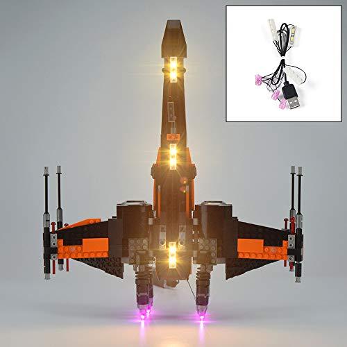 QJXF Juego De Luces USB Compatible con Lego Star Wars Poes ala-X 75102, LED Light Kit para (Star Wars Poes ala-X) De Bloques De Creación De Modelos (No Incluido Modelo)