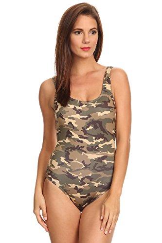 SHORE TRENDZ Women's 1-Piece Camo Bikini Camouflage Swimwear (L)