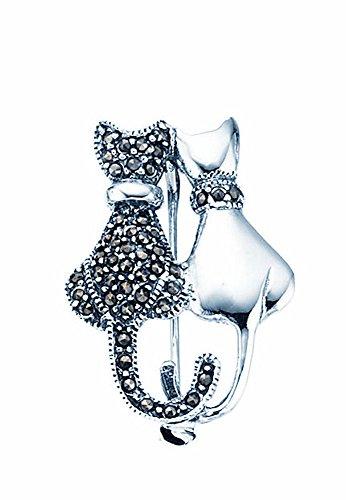 TF Broche gato con piedras de marcasita y superficie pulida, plata de ley