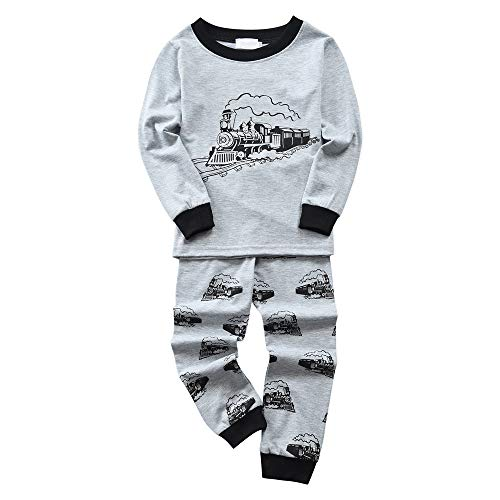 Chickwin Jongens Pyjama Set, Katoen Lange Mouw voor Kinderen Vliegtuigen, Schip, Train, Grijs Gedrukte Pyjama Sets Winter Nachtkleding Slaapkleding Pjs 2 Stuk Outfit Xmas
