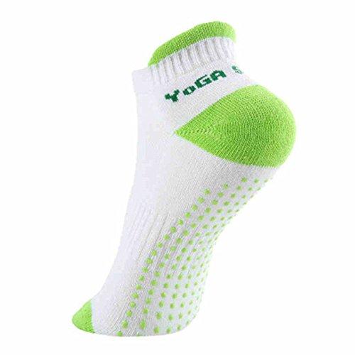 Vientiane 2 paar volledige voet antislip katoenen sokken, met rubberen zoolen, ademactiviteit, perfect voor pilates, yoga, dans, huis en lichaam balans