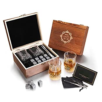 Baban Whiskey Glasses Set Cool Unique Whiskey Stones Set with 2 Scotch Bourbon Glass and 8 Granite Chilling Whisky Rock in Wooden Box Personalized Anniversary Birthday Gift Idea for Men Him Husband