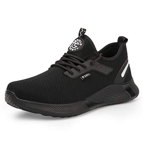 [AONEGOLD] 安全靴 作業靴 スニーカー 軽量 先芯入り ケブラー 耐摩耗 耐滑ソール メンズ ワークマン 黒 作業 靴 仕事 工事現場 疲れない おしゃれ あんぜん靴 男女兼用 (ブラック 25.0cm)