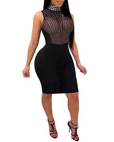 PORRCEY Women Sexy hot Diamond Process Sexy Dress Party Club Night Dress (XX-Large, Black 5)