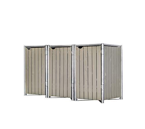 Hide Mülltonnenbox für 3 Mülltonnen, Mülltonnenverkleidung, Gerätebox Natur grau // 209x80x115 cm (BxTxH) // Aufbewahrungsbox 240l Volumen