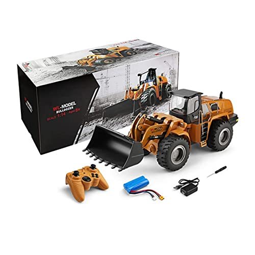 SDUK remote controlled wheel loader, 1:14 bulldozer construction vehicles model with lighting sound and remote control, compatible with Lego