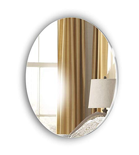 Frameless Oval Glass Look Acrylic Mirror - Stick on Mirror - Complete Kit - Bedroom - Living Room - Hallway - Any Room