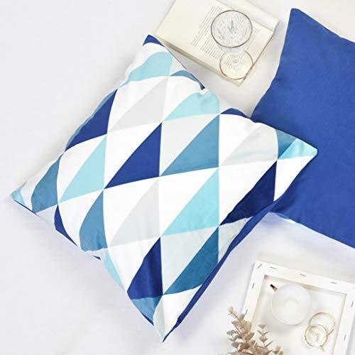 Offtopic Juego de 4 fundas de cojín para sofá, 45 x 45 cm, de terciopelo suave, cojines decorativos elegantes con diseño italiano y parte trasera lisa   triángulos azules