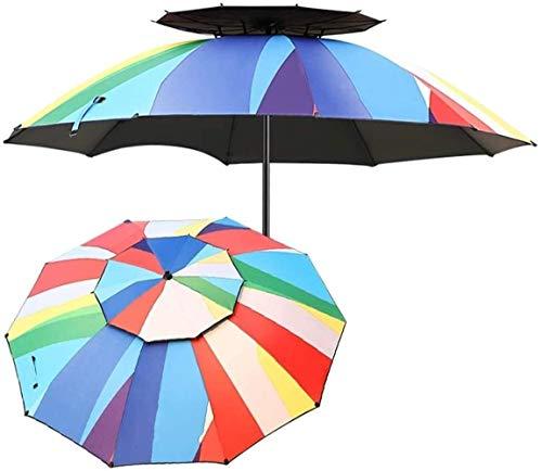 Paraguas Patio Paraguas Al aire libre Doble Top Garden Paraguas con arranque de aluminio inclinado, no oxidado, Market Parasol para balcón, Patio, Pesca, Patio trasero (Color: 220cm (7.2FT)) MISU