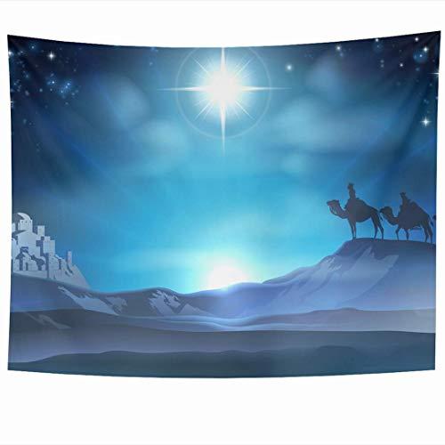 N\\A Wandbehänge Wandteppiche Weihnachten 3 Baby Adventszene Geburtsstern Wüste Geboren DREI Reise Texturen Krippe Blau Feiertage Wandteppich Wanddecke Wohnkultur Wohnzimmer Schlafzimmer Wohnheim