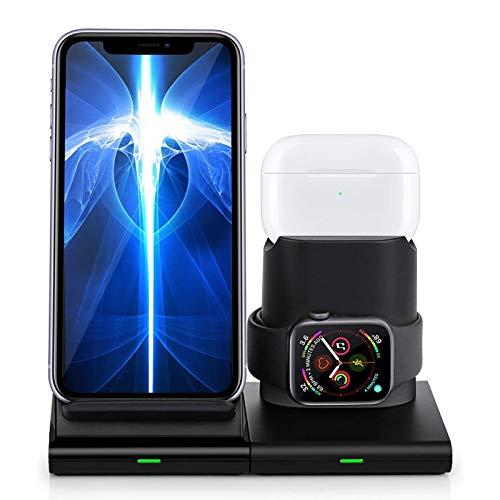LTLJX Cargador Inalámbrico Rápido 10W con iPhone 12/12 Mini /11/11 Pro/11 Pro MAX/X/XS/XS MAX/8, Airpods Pro/1/2, iWatch 5/4/3/2/1