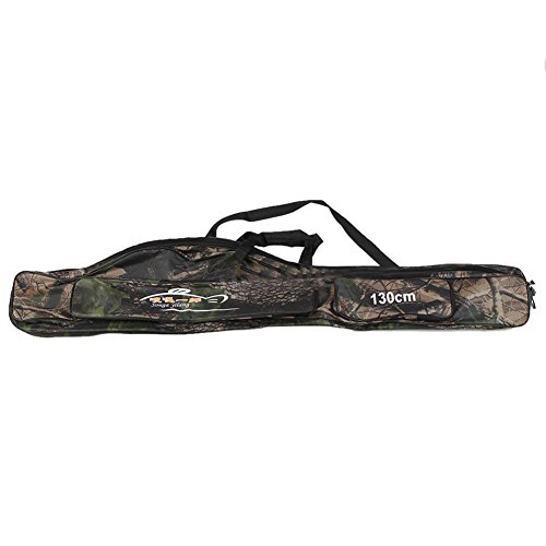 Tepoinn Folding Portable Waterproof Double-Layer Camouflage Fishing Rod Carrier Oxford Fishing Pole Tools Storage Bag Case Fishing Gear Organizer (130cm/51in Maple Leaf Camouflage) (130cm-2)