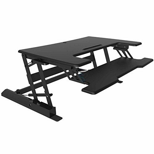 HFTEK® Sitz-Steh Schreibtisch Arbeitsplatz Sit & Stand Desktop Laptop Workstation höhenverstellbar (FY02A3)