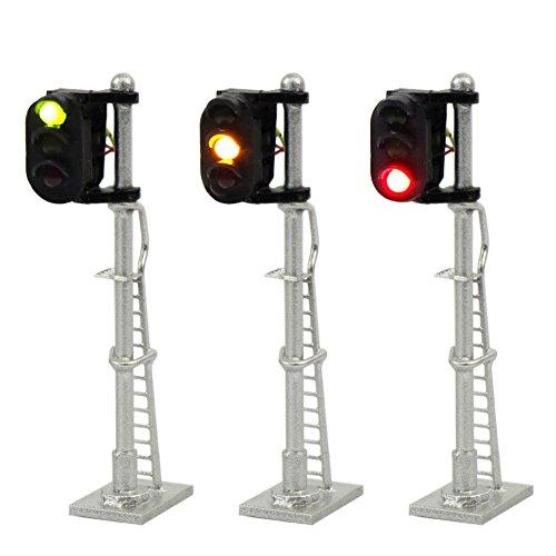 JTD1503GYR 3PCS Model Railroad Train Signals 3-Lights Block Signal N Scale 12V Green-Yellow-Red Traffic Lights for Train Layout New