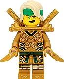 LEGO Ninjago Lloyd - Minifigura de ninja dorada, cabeza amarilla, pieza para el pelo, con hombreras y espadas
