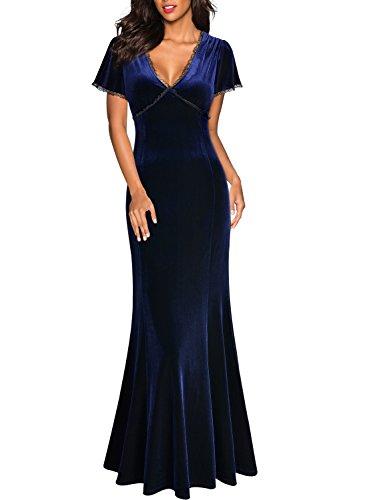 MIUSOL Damen Spitzen Velvet Kleid Vintage Samtkleid Elegant Brautjungfer Abendkleider Navy Blau Gr.M