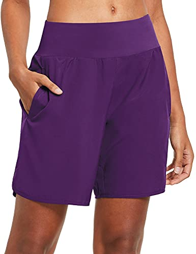 BALEAF Women's 7 Inches Long Running Shorts Back Zipper Pocketed Lounge Sport Exercise Shorts with Liner Purple Size XL