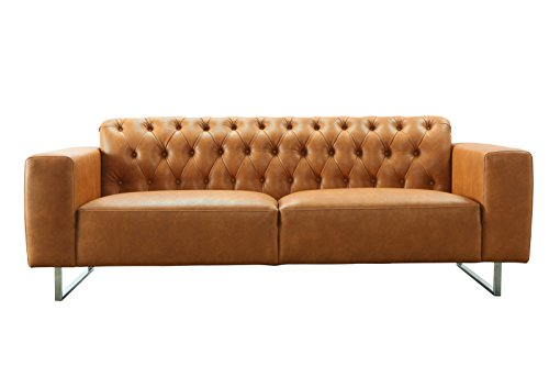SIT-Möbel 6013-04 3-Sitzer Sofa aus Kunstleder, Beine aus Edelstahl, cognacfarbene Couch, 219 x 86 x 77 cm