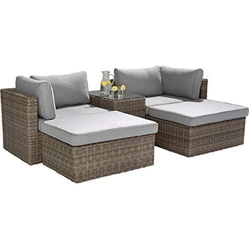 Lounge-Set Olea 5-teilig aus Polyrattan Sand