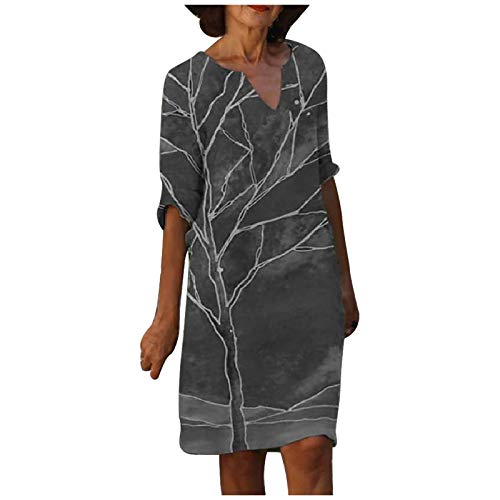 Sommerkleider V-Ausschnitt Freizeitkleider Leinenkleid Damen Kleid Blusenkleid Damen Retro Style Print Shirt Baumwolle Und Leinen Lässig Plus Größe Lose Tunika Tuchkleid