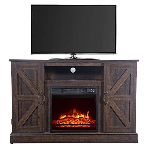 FDY 47' Electric Fireplace TV Stand, Modern Wood Fireplace Stand with Cabinet Doors and Drawers,...
