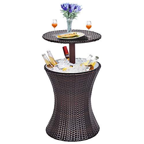 Multigot 3 en 1 mesa de mimbre de barra de hielo, mesa de café, estilo ratán, altura ajustable, patio, fiesta, piscina, uso