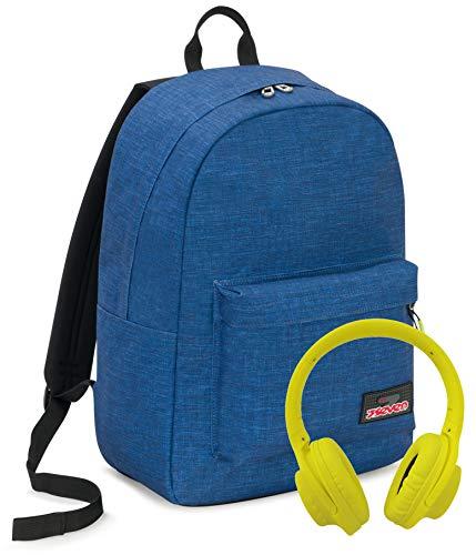 iMusicpack Seven, Blu, 27 Lt, Zaino con Cuffie Stereo Soft Touch, Tasca porta notebook 15'', Scuola & Tempo Libero