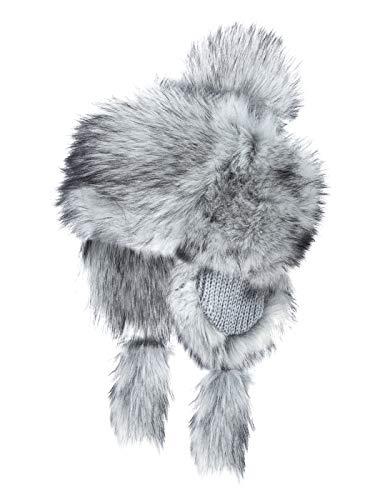 Futrzane Fellmütze Mongolische Mütze Bommel Wintermütze Pelzmütze (Sibirisches Silber)