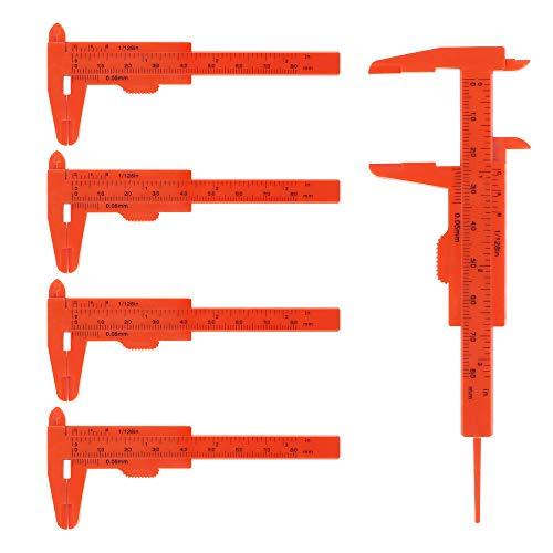 Calibrador a vernier de plástico, 5 piezas, calibre a vernier deslizante, regla de calibre, calibre a vernier de doble escala para medir jade, joyas, botones (naranja)