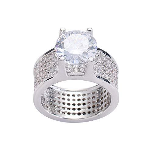 Modow Anillos Hombre Hip Hop Copper Bling Micro Incrustado Zircón Cúbico Chapado en Oro con Enorme Diamante,Plata,9