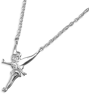 fée rose Wings Fée Clochette motif argent collier 46cm chaîne cadeau