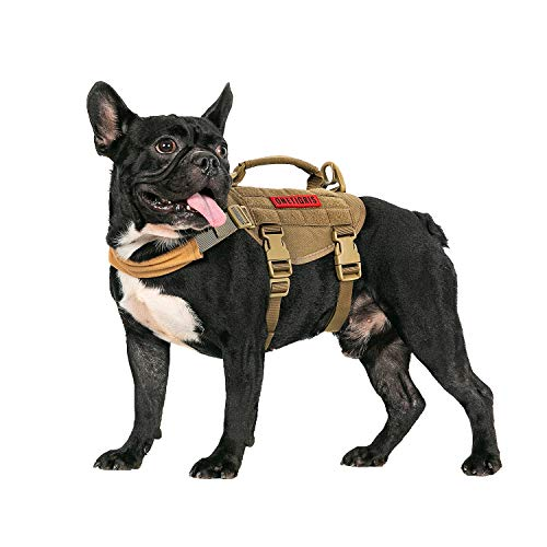 """OneTigris Dog Vest Harness,Tactical Dog Harness with Durable Vertical Handle for Small Medium Puppy Dog (XS:(Neck:11""""-17"""") (Chest:15""""-22"""")"""