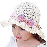 Snyemio Sombrero de Paja Niñas con Flores Verano Anti UV So
