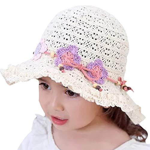 Snyemio Cappello da Sole in Paglia Bambino Ragazze da Spiaggia Estivi Fiori Berretto Protezione UV 0-8 Anni (Beige, 52cm/3-4 Anni)