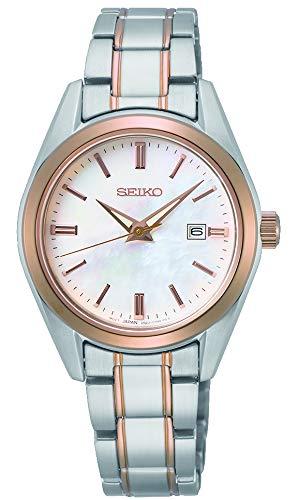 Seiko Damen Analoger Quarz Uhr mit Stahl zweifarbig Armband SUR634P1