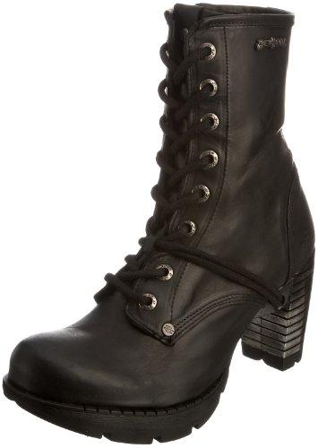 New Rock M.TR001-S1 - Botas de Cuero para Mujer, Color Negro, Talla 35.5