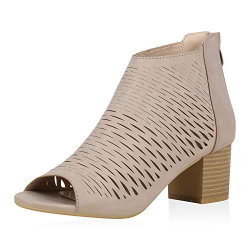 SCARPE VITA Damen Sandaletten Schaftsandaletten Blockabsatz Schuhe Cut Outs Holzoptik Absatzschuhe Sommer Mid Heels 181212 Khaki 36
