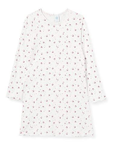 Sanetta Mädchen Sleepshirt Broken White Feines Nachthemd schönen Allover-Print aus einem fließenden Cotton-Modal Mix, beige, 128