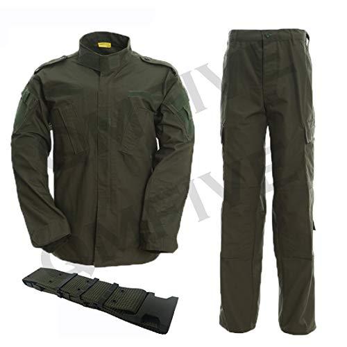QMFIVE Taktisch Jacke Taktisch Uniform Softairjacke Taktische Männer BDU Kampf Jacke Shirt & Hosen Anzug Camo für Kriegsspiel Armee Militär Paintball Airsoft Jagd Schießen (OD, S)