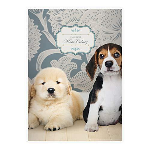 Schattige honden baby DIN A4 schoolschrift, rekenboekje met kleine pups, blauw verschillende liniëringen (blad 16 vellen/32 pagina's) notitieboekje, kladje voor school, universiteit, kantoor . 8 DINA4 Heft- Lin 21 met uw naam