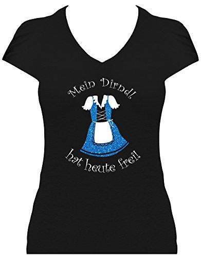 Elegantes Premium Shirt Oktoberfest Glitzeraufdruck Damen Wiesn Spruch Mein Dirndl hat Heute frei, T-Shirt, Grösse XL, Druck blau Glitzer