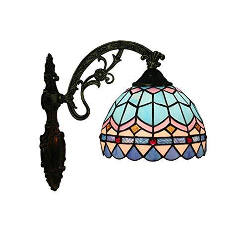 DALUXE Lámpara de Vidrio de Estilo Tiffany clásico Lámpara de Pared Multicolor Luminaria de cabecera Estilo Barroco para Espejo Corredores Pórtico Balcón Balcón Entrada de Dormitorio E27 30 * 28 cm