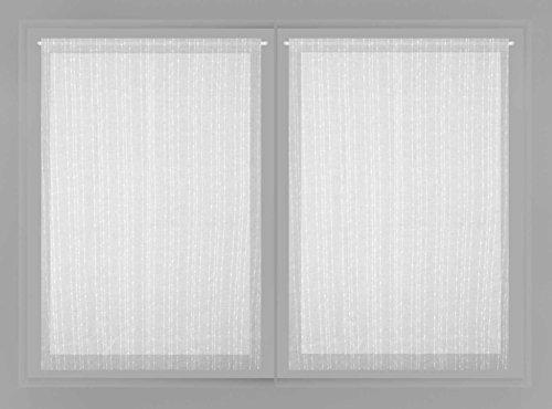 Soleil d'ocre Maelis Paire de Brise Bise, Polyester, Blanc, 60x120 cm