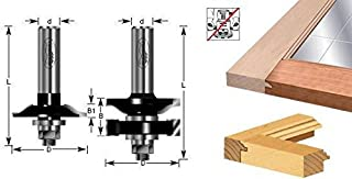 Timberline 440-34 Stile & Rail 2-PC Glass Door 1-5/8 D x 27/32 CH x 1/2 Inch SHK w/ Lower BB Router Bit Set for 3/4 Material