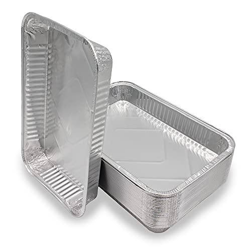 Mamatura 25 XL-Aluminium-Tropfschalen | 25 Aluschalen, Grilltassen | 32 x 22 cm, 2100 ml | groß, rechteckig, hitzebeständig (25, Aluschalen ohne Deckel)
