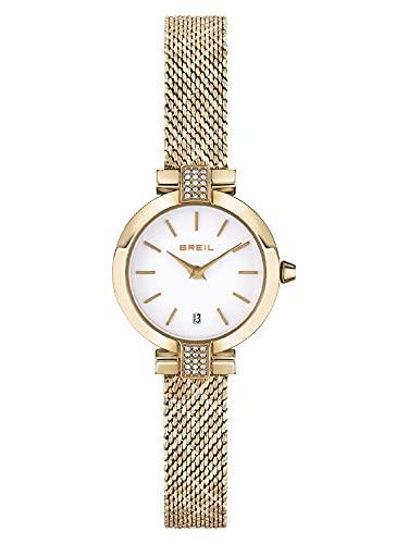Breil Damen Armbanduhr Soul IP Light Gold Quarzstahl mit Kristallen Gold-Weiß 25mm, Wasserdichtigkeit: 5 Bar, TW1917